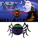 Halloween divertido brilhante lanterna de papel aranha com LED decoração quintal vela
