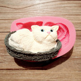 3D Cat Silicone Fondant Mold Chocolate Polymer Clay Mould