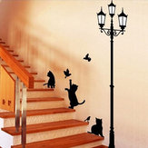 23x40CM Lamp Kat Muurstickers Home Trappen Sticker Decor Decoratief Afneembaar Behang