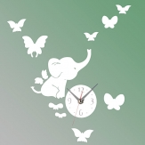Elephants Butterfly Wall Sticker Color DIY Mirror Wall Clock 3D Home Decoration