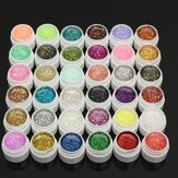 1 Pot 36 Colors Glitter UV Gel Builder Nail Art Polish