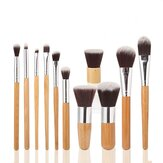MAANGE 11 stuks Bamboe Handle Make-up Oogschaduw Blush Concealer Borstel Set
