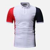 Heren colour block muscle fit golfshirt