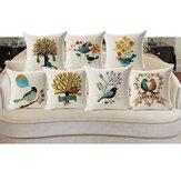 Honana 45x45cm Home Decoration Flower and Bird 7 Optional Patterns Cotton Linen Pillowcases Sofa Cushion Cover