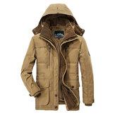 男性     厚い  フリース   冬コート フード付き 屋外 ソリッド    カラー  ジャケット