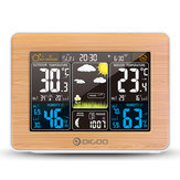 DIGOO DG-EX002 Wood Grain Color Screen Weather Station HD Color Screen Outdoor Indoor Thermometer Hygrometer Temperature Humidity Weather Forecast Moon Phase Daily Alarm Clock with Snooze Function