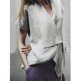 Women Pure Color Cotton Short Sleeve Irregular Hem Blouse