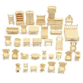 DIY Mini 34pcs/set Kids Educational Doll House Accessories Furniture 3d Woodcraft Puzzle Model Kit Handmade Toys
