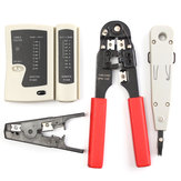RJ45 RJ11 Cable Hand Tool Crimper Network Tool Kit Cable Tester Lan Internet