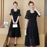 Large Size Women's Clothing New French Niche Dress Foreign Gas Was Thin And Fat Sister In The Long Black Dress
