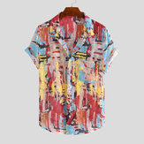 Mens Multi Color Printing Grattifi Practical Pocket Shirts