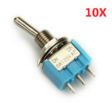 3 Pins Toggle Wippschalter 10pcs MTS-102 ON / ON SPDT AC 125V 6A Wendao