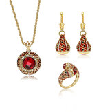 Luxury Red Crystal Statement Bridal Jewelry Sets for Women