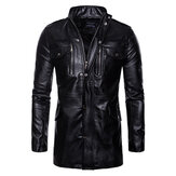 Mens Longo Faux Couro Preto Stand Collar Biker Jacket