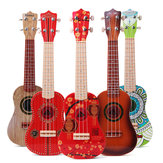 21 Inch 4 Strings Colorful Toy Ukulele Chinese Style for Kids Gift