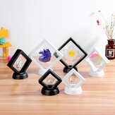 Square 3D Album Floating Frame Holder Coin Box Jewelry Box Display Showcase with Stand