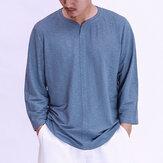 T-shirts à manches longues en coton de style chinois vintage pour hommes