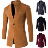 Mens Business One Button Stand Collar Slim Fit Wool Jacket