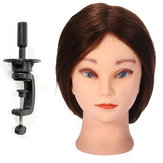 19 Inch Human Hair Salon Hairdressing Practice Training Head Clamp Adjustable Holder