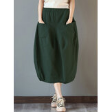 Women Elastic High Waist Basic Cotton Midi Skirt