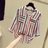 Vertical Striped Shirt Female New Loose Seven-point Sleeve Shirt Han Fangang Wind Blue V-neck Chiffon Shirt
