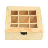 9 Compartments Wooden Tea Bag Jewelry Organizer Chest Storage Box Glass Top Log