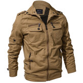 Mens Spring Autumn al aire libre Washed Cotton Jacket Plus Talla