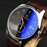 YAZOLE 306 Men Fashion Casual Luminous Hands Calendar Leather Quartz Watch