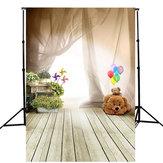 5x7FT dzieci niedźwiedź balon drewniane podłogi tło Studio tło