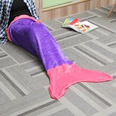 124x104cm Flannel Mermaid Tail Blanket Super Soft Sofa Home Office Bed Mat Sleep Bag