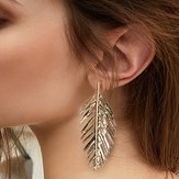 Trendy Ear Drop Leaves Silver Gold Earrings Statement