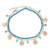 Summer Beach Multilayer Blue Bead Coin Pendant Ankle