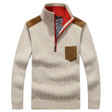 Casacos para homem Casual Business Zipper Stand Collar Wool Sweaters Patchwork Contraste Color Warm Pullover