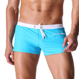 Mens Sexy Beach Summer Lange zwembroek Zipper Side Pocket lage taille Casual Sport Spa Boxers