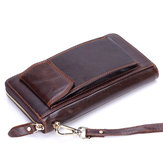 Men Genuine Leather Long Clutches Bag Phone Bag Business Wallet with 12 Card Slots