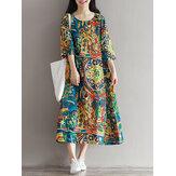 Mulheres Floral Impresso Loose 3/4 Sleeves O-Neck Dress