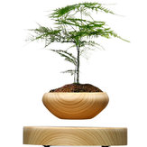 Magnetico Sospeso in vaso Pianta in legno di grano rotondo LED Indoor Pot Home Office Decoration