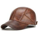 Mens Winter Warm Genuine Leather Baseball Cap