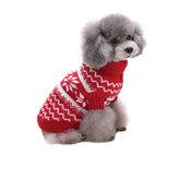 クリスマススノーフレークペット犬ニットかぎ針編みウォームセータータートルネックジャンプスーツ服スモールドッグアウトレット