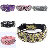 Pet Dog Cat Collar PU Leather Adjustable Rivet Bling Collar Necklace Strap Buckle Dog Training Leash