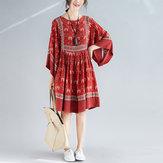 Women Vintage Loose O-Neck Floral A Line Dress