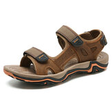 Men Comfy Piel Genuina Transpirable Gancho Loop Sandalias