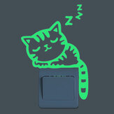 Sleeping Cat Kreatywny Luminous Switch Sticker Wymienny Glow In The Dark Fototapeta Wystrój domu