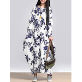 L-5XL Casual Women Loose Floral Print Jurk