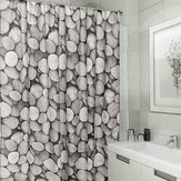 Poliéster Impermeable Cobblestone Shower Curtain Cuarto de baño Home Decor Hooks Set