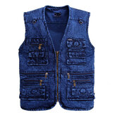Mens Denim Multi-pocket Fishing Photography Outdoor Vest