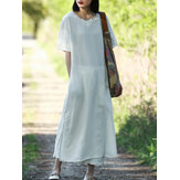 Vintage Short Sleeves Cotton Split Maxi Dress