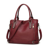 Women Faux Leather Large Capacity Tote Bag Solid Handbag