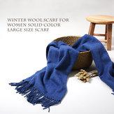 LYZA 200CM Women Winter Wool Sjaal Solid Large Size Sjaal en Shawl Blanket Dual Use