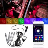 4Pcs LED Car Interior Decoration Lights Floor Atmosphere Light Strip Phone App Control Colorful RGB